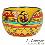 Miska na klbko vlny - Yarn Bowl Mango Wood - YELLOW STRIP
