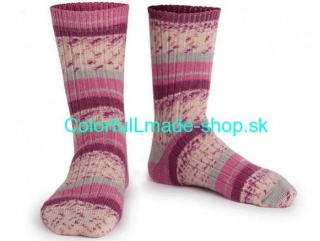 Design Sock Pink Maroon Grey Cream