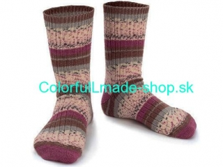 Design Sock Purple Grey Cream Brown