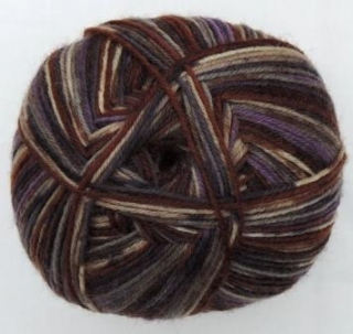 Hot Socks Stripes 4-fach superwash - Brown with crazy purple stripes 1661-614
