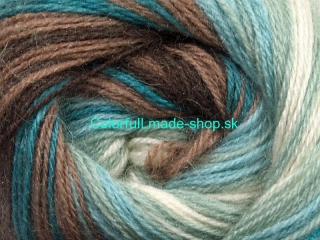 Mohair Magic White Turquoise Mint Green Brown 50297