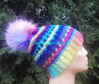 Winter Rainbow Dream Hat - SVK - pattern - návod - PDF súbor
